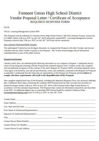 Vendor Proposal Letter