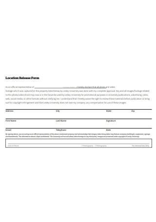 Video Location Release Form Example