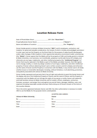 Video Location Release Form