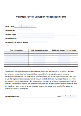 Volunteer Payroll Deduction Authorization Form