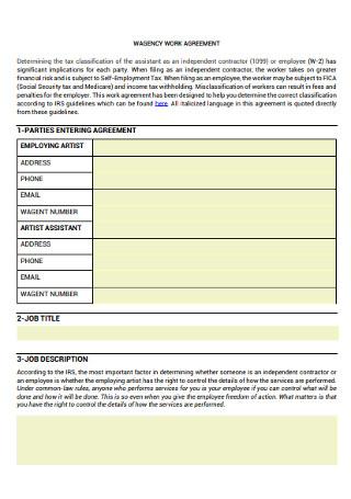 Wagency Work Agreement
