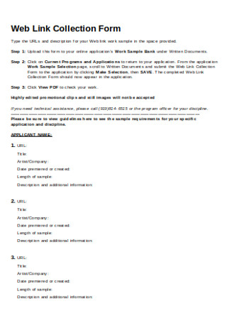 Web Link Collection Form