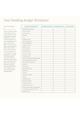 Wedding Budget Worksheet Template