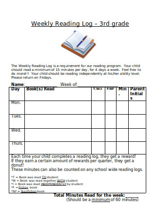 Weekly Reading Log – 3rd Grade