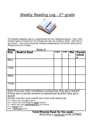 Weekly Reading Log 2nd Grade