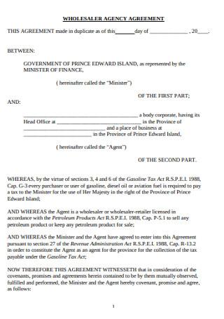 Wholesaler Agency Agreement