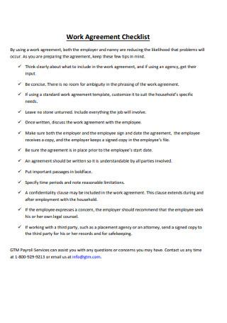 Work Agreement Checklist