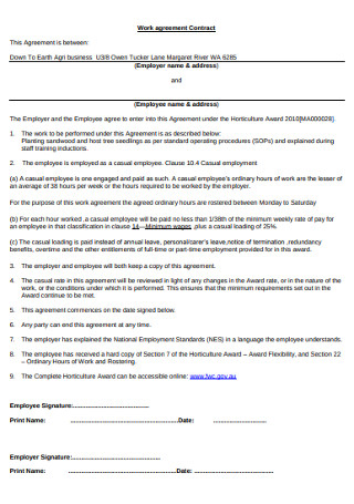Work Contract Agreement