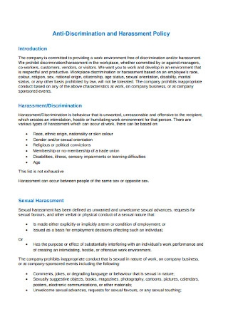 Work Environment Anti discrimination Policy