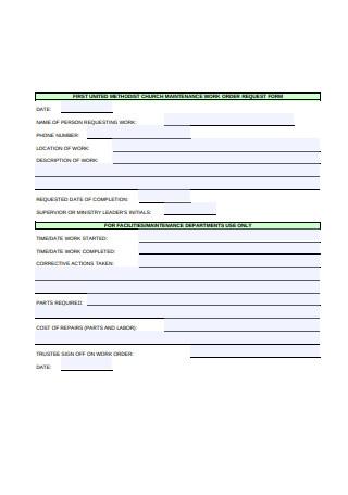 Work Order Request Form Sample