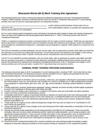 Work Training Site Agreement