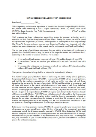 Writer Collaboration Agreement Sample