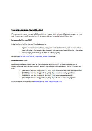 Year End Employee Payroll Checklist Sample