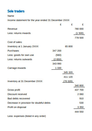 Year End Income Statement