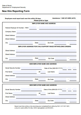 ew Hire Reporting Form