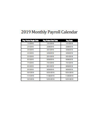 2019 Monthly Payroll Calendar