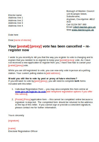 Absent Vote Removal Letter
