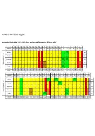 Academic Semisters Calendar