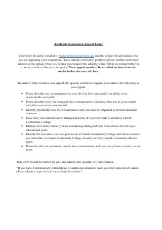 Academic Suspension Appeal Letter