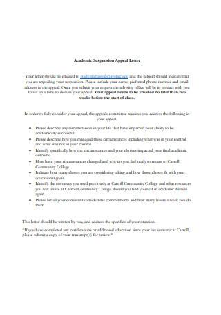 Academic Suspension Appeal Letter