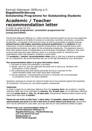 Academic Teacher Recommendation Letter