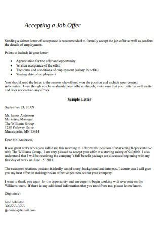 Accepting a Job Offer Letter