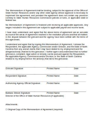 Addendum Memorandum of Agreement Sample