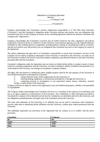 Addendum to Consulting Agreement