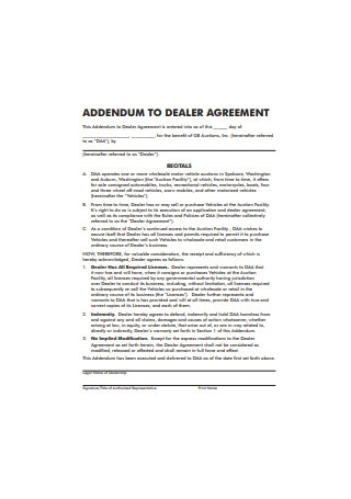 Addendum to Dealer Agreement Format