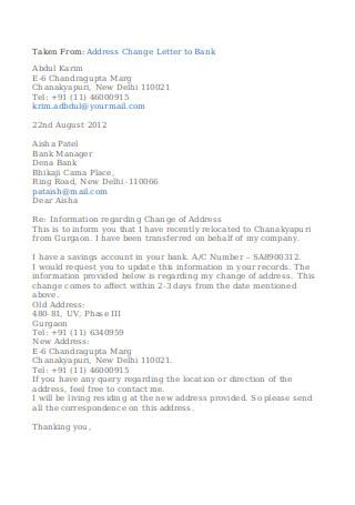 Address Change Letter to Bank