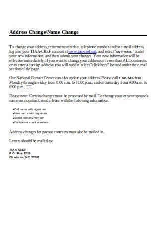 Address Change Name Change Letter