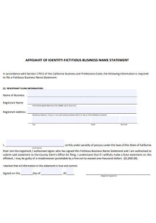 Affidavit of Identity Business Form