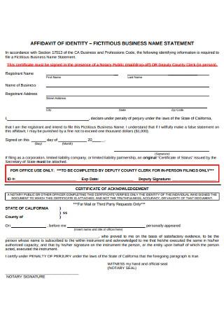 Affidavit of Identy Bussiness Statement Form