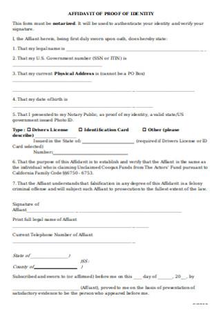 Affidavit of Proof Identitiy Form