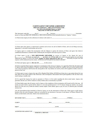Agency Retainer Agreement