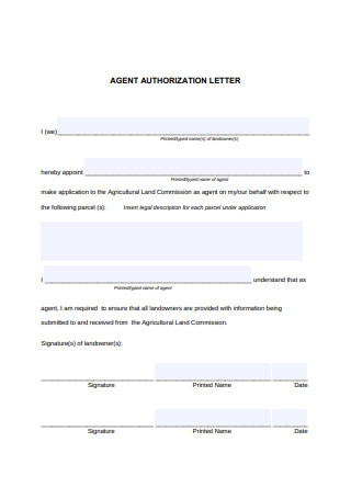 Agent Authorization Letter Sample