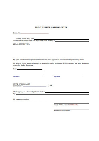Agent Authorization Letter Template