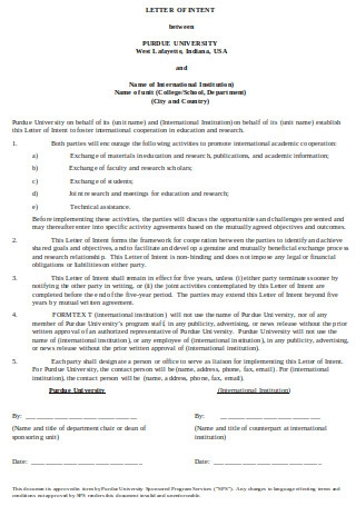 Agreement Letter of Intent