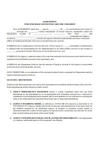 Agreement for Purchase of Foster Care for Children