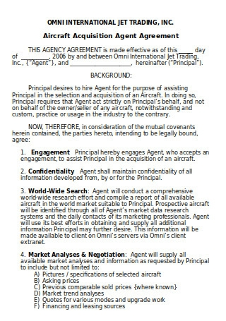 Aircraft Acquisition Agent Agreement