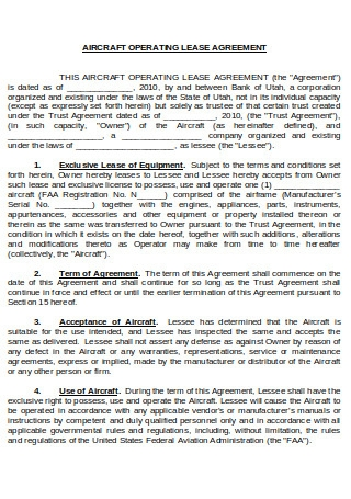 Aircraft Operating Agreement