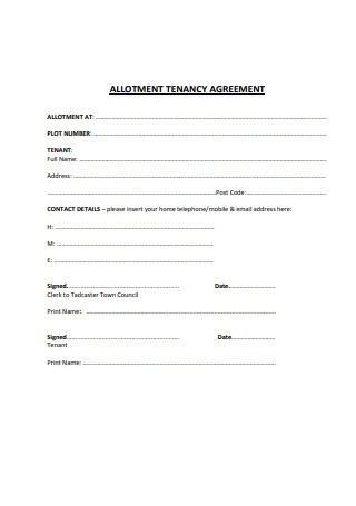 Allotment Tenancy Agreement