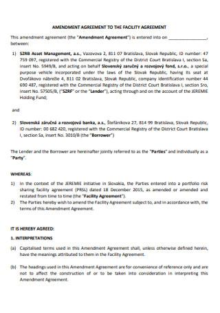 Amendment of Facility Agreement