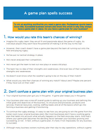 Annual Business Sales Game Plan