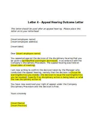 Appeal Hearing Outcome Letter