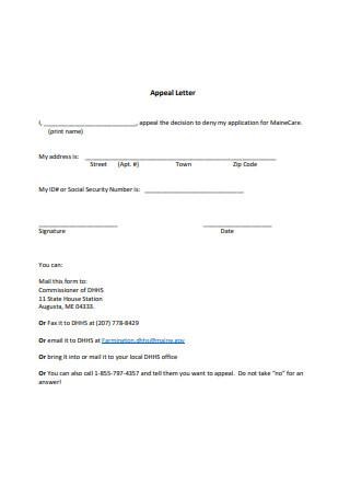 Appeal Letter Sample
