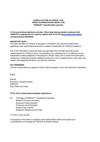 Appeal Letter for Prior Authorization