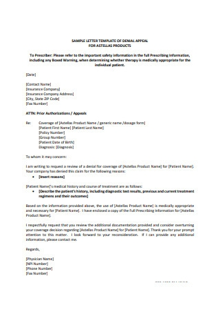 Appeal Letter for Products