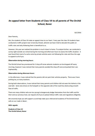 Appeal Letter from students