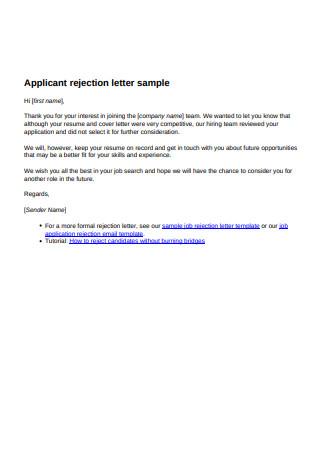 Applicant rejection letter sample